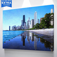 Blue Chicago Puddle Mirror Skyline Canvas
