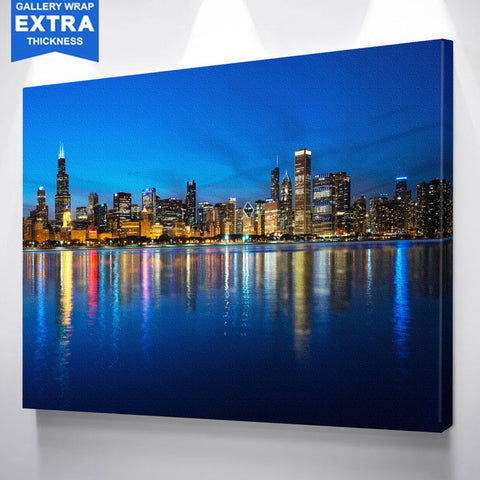 Blue Chicago Glow Skyline Canvas