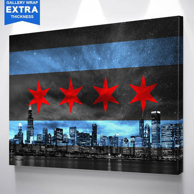CHICAGO SKYLINE FLAG GLOW Canvas