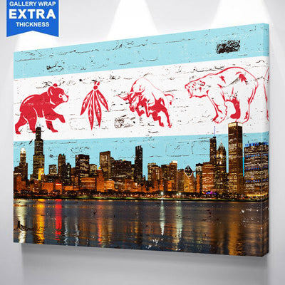 Chicago Greatest Flag Skyline Canvas