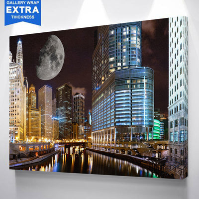 Chicago Riverwalk Full Moon Canvas