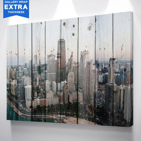 Wood Chicago Skyline Canvas