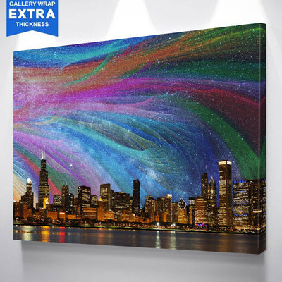 Color Abstract Chicago Skyline Canvas