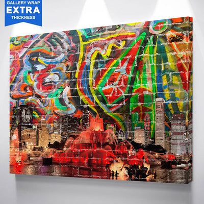 Colorful Glow Graffiti Chicago Skyline Canvas
