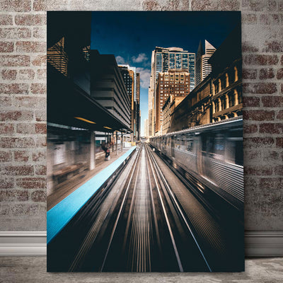 Downtown Chicago L In Motion Canvas