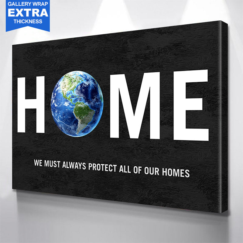 Earth Home  Canvas Motivational Wall Art