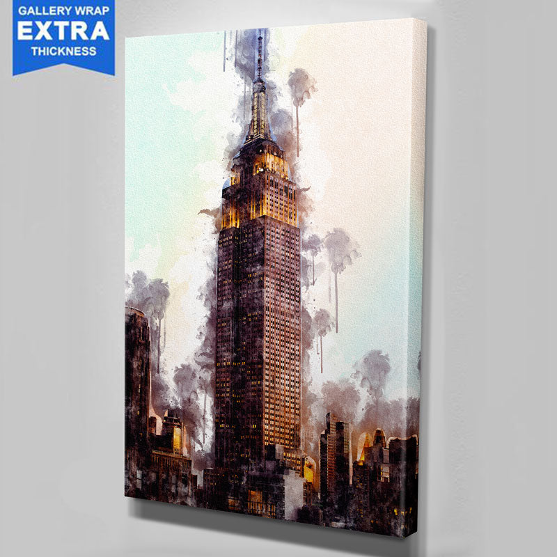 New York Skyline Watercolor Empire State Building Canvas