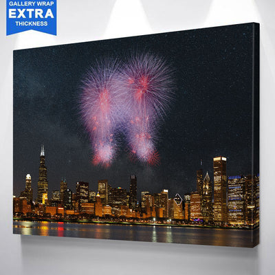 Fireworks Chicago Skyline Canvas