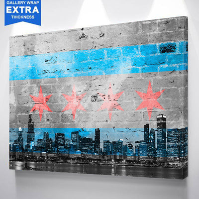 Graffiti Chicago Skyline Flag Black & White Canvas