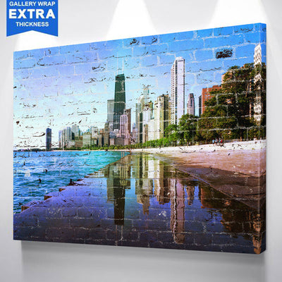 Graffiti Chicago Refection Skyline Canvas