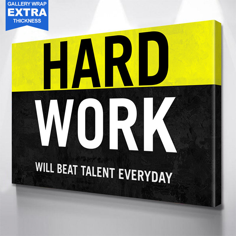 Hard Work Yellow & Black Canvas Motivational Wall Art