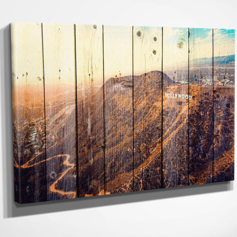 los angles hollywood sign wood canvas zapwalls