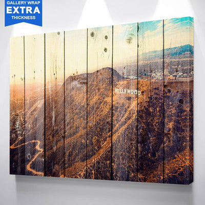 Los Angles Hollywood sign Wood Canvas