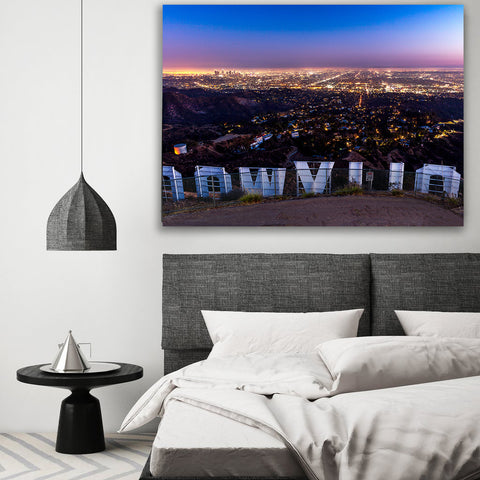 Hollywood Sign Wood Wall Art Canvas Gallery Wrap