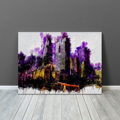 Los Angeles Purple Oily Skyline Painting Canvas Wall Art