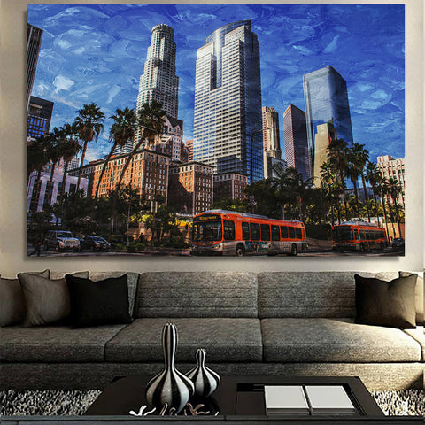 Downtown Los Angeles Blue Painting Canvas