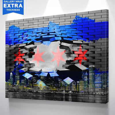 Modern Breaking Chicago Flag Skyline Wall Graphic Canvas