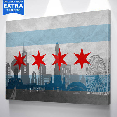 Silhouette Chicago Flag Canvas