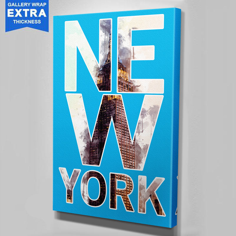 Typography Blue Watercolor New York Skyline Canvas