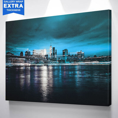 Blue New York Skyline Action Canvas
