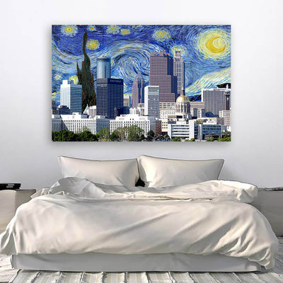 Atlanta Starry Night Skyline Canvas Wall Art Canvas Art