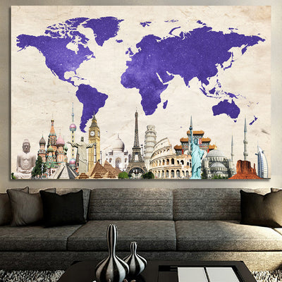 Purple amazing world map landmark world map wall art zapwalls purple amazing world map landmark gumiabroncs Image collections