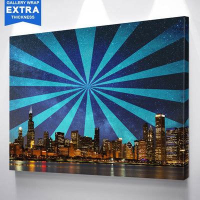 Modern Crazy Abstract Chicago Skyline Canvas