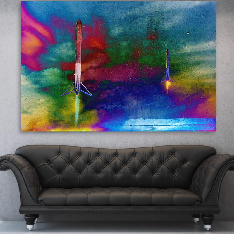 SpaceX Landing Colorful Canvas Motivational Wall Art