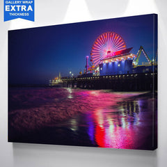 Nightime Santa Monica Pier Wall Art Canvas