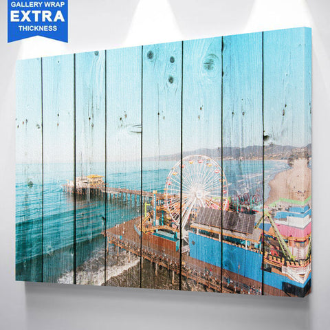 Santa Monica Pier Wood Canvas
