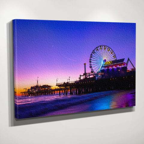 Santa Monica Pier Dusk Canvas Wall Art