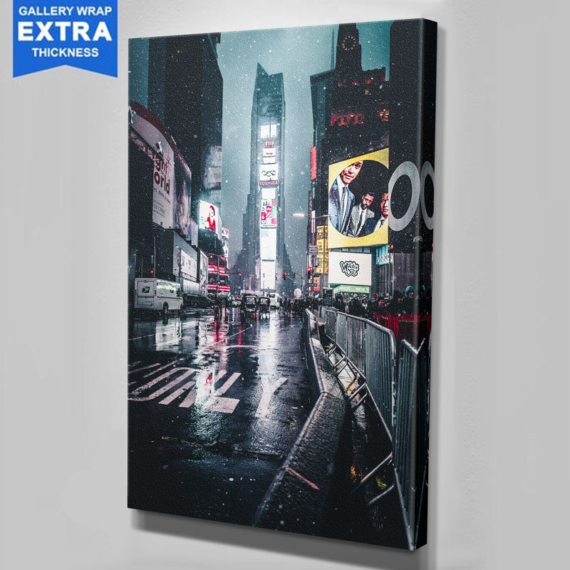 Snowy Time Square New York Canvas