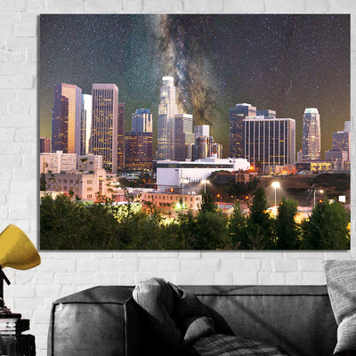 Space Los Angeles Skyline Canvas Wall Art