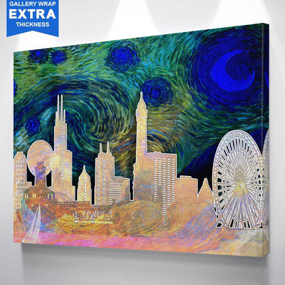 Starry Chicago Abstract Silhouette Canvas