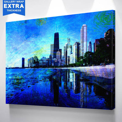Starry Chicago Abstract Watercolor Canvas