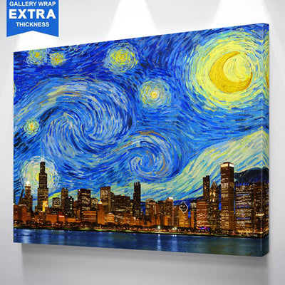 Starry Chicago Skyline Wall Art