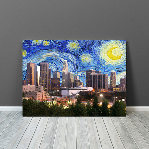 Starry Night Los Angeles Skyline Canvas Wall Art
