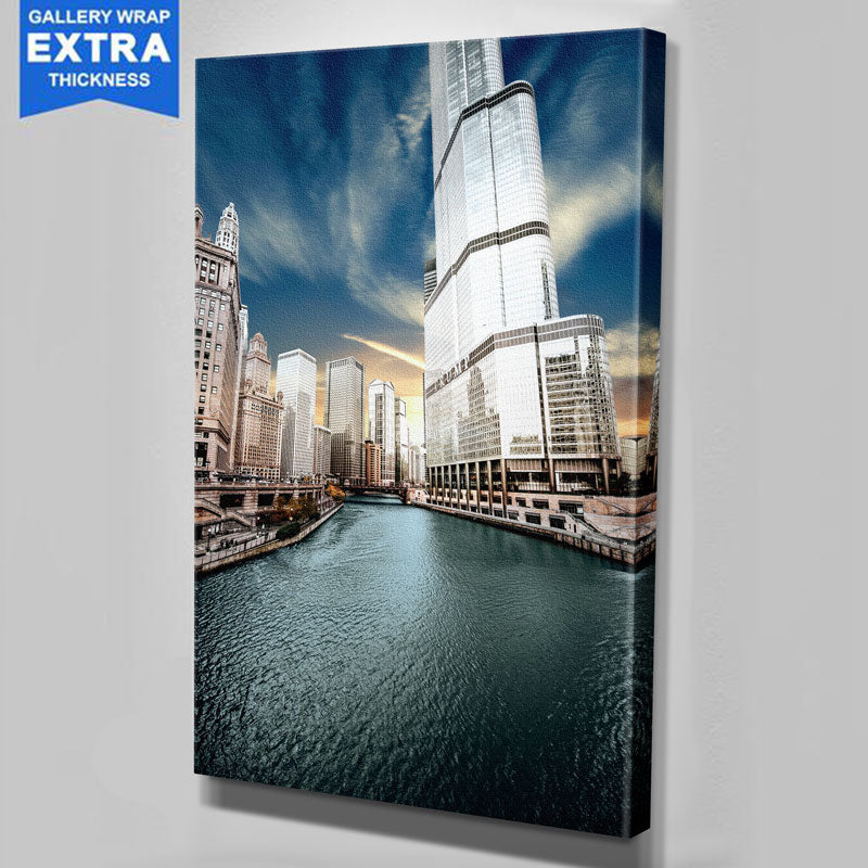Sunny Chicago River Canvas Canvas