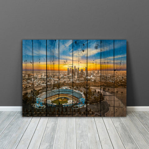 Chavez Ravine LA Skyline Wood Canvas