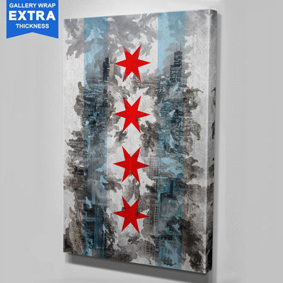 Through Chicago Flag Skyline Canvas