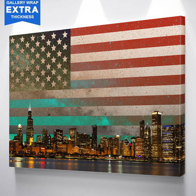 USA Flag Chicago Skyline Abstract Canvas