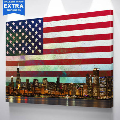 USA Abstract Glow Chicago Canvas