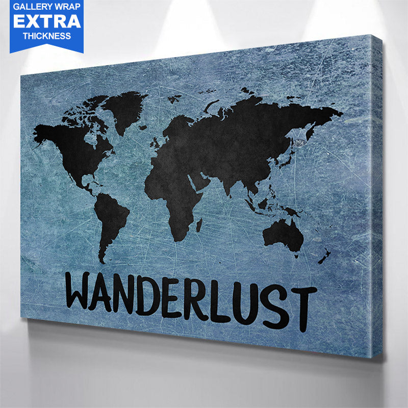 Blue & Black Wanderlust World Map