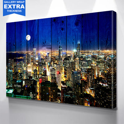Wood Chicago Moon Aerial Skyline Canvas Motivational Wall Art