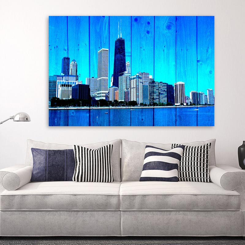 Wood Chicago Skyline Blue Lake Front Canvas Motivational Wall Art & Wood Chicago Skyline Blue Lake Front Chicago Skyline Wall Art - Zapwalls