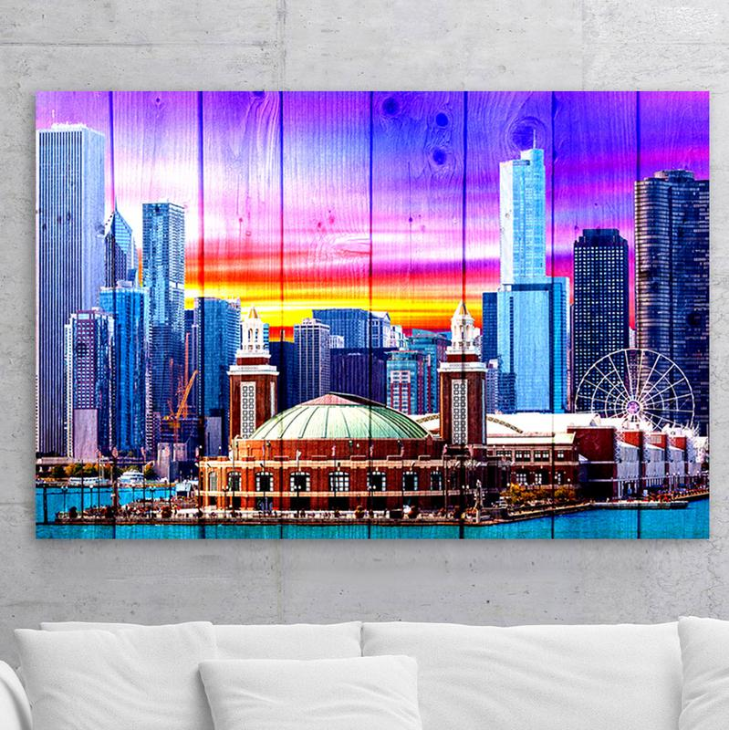 Wood Chicago Navy Pier Colorful Skyline Canvas Motivational Wall Art & Wood Chicago Navy Pier Colorful Skyline Canvas Chicago Skyline Wall ...