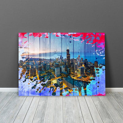 Wood Chicago Breaking Aerial Colorful Canvas Motivational Wall Art