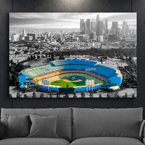 Amazing LA Skyline Chavez Black & White Canvas