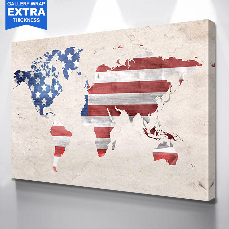 American Flag World Map
