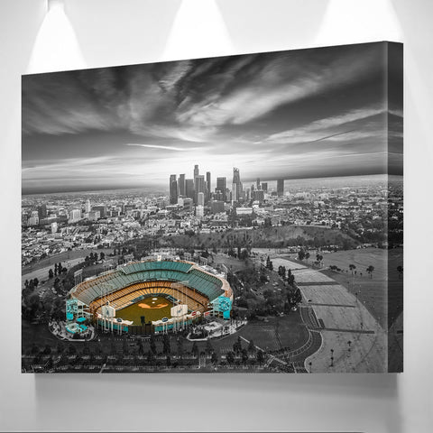Black & White Los Angeles Dodger Chavez Ravine Wall Art Canvas
